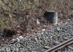 Müllentsorgung am Bahnsteig in Zorneding (Foto: Peter Pernsteiner)
