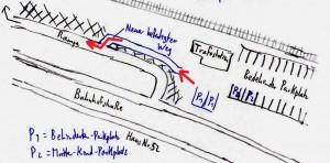 Neuer Zugang vom Parkplatz zur Rampe (Skizze: Peter Pernsteiner)